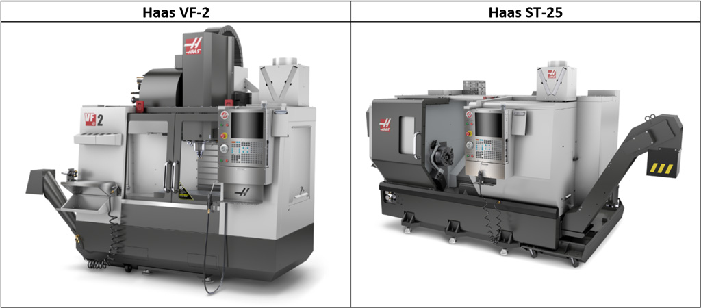 CNC vertical mill and CNC lathe